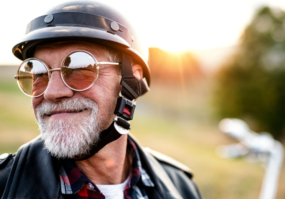 Happy man on motorcycle