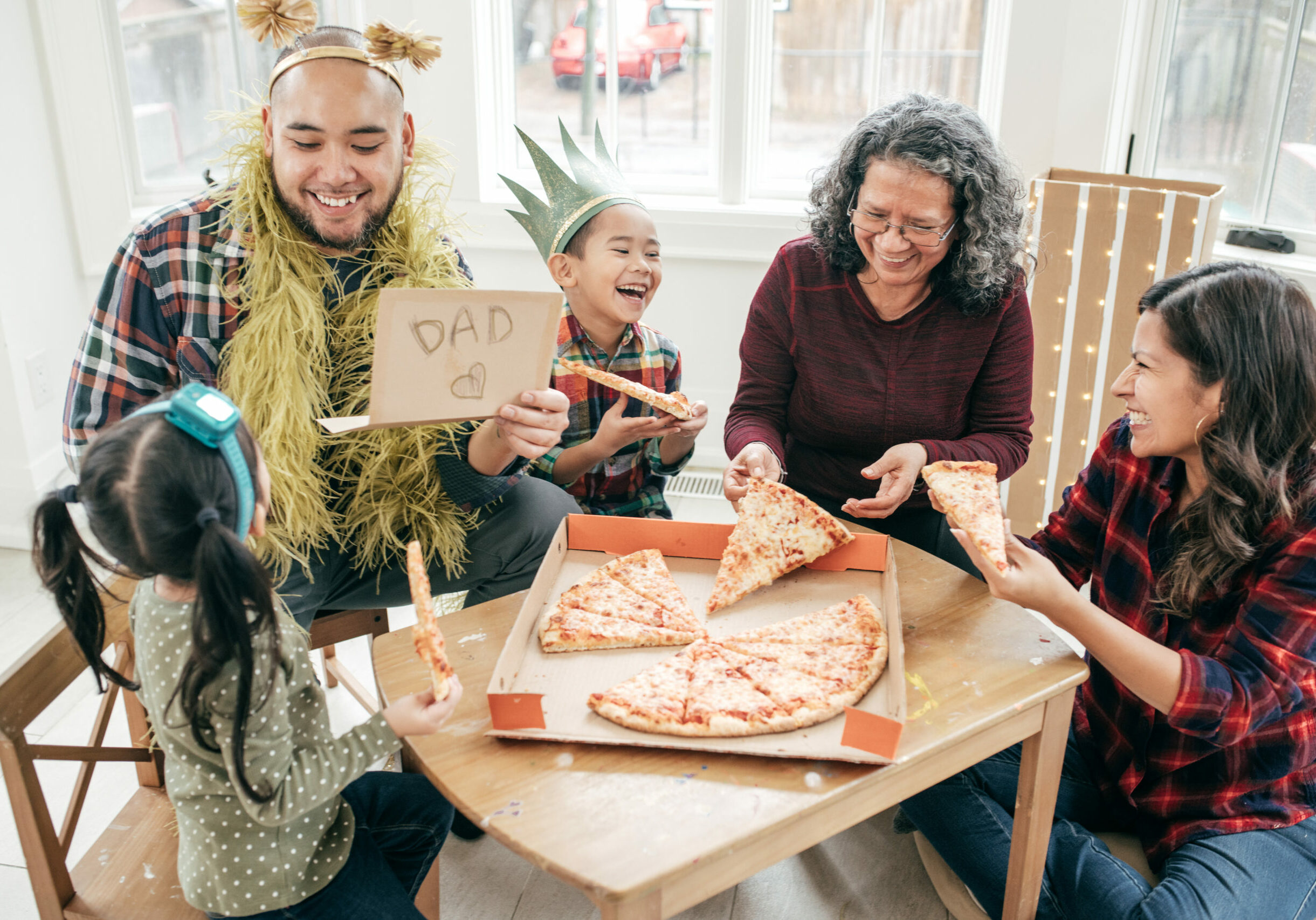 Eating pizza and creating memories